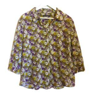 SPORTSCRAFT  sz 16 3/4 sleeve floral blouse 100% cotton